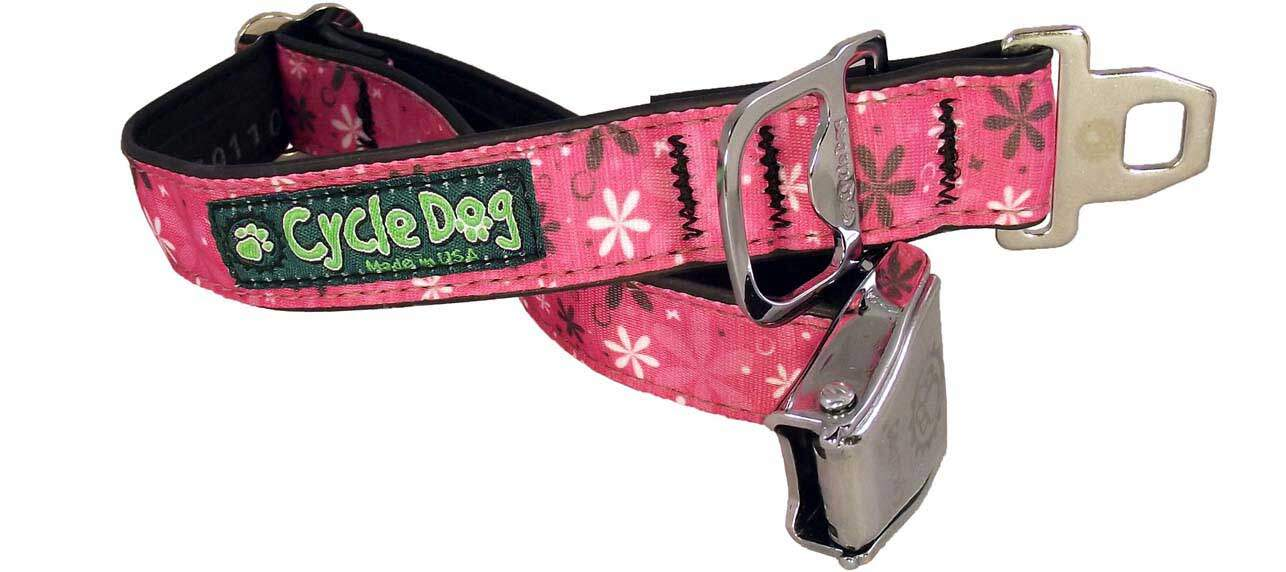 Hot Pink Retro Flowers Dog Collar Cycle Dog Earth Friendly Pet Company